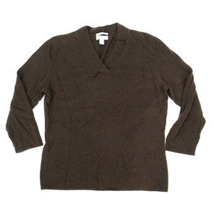 Charter Club Women's Cashmere Sweater V-Neck Brown